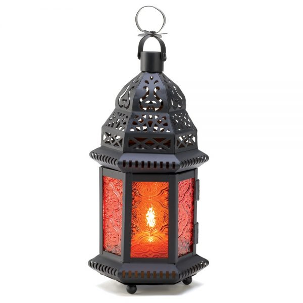 Amber glass Moroccan style candle-holder decor