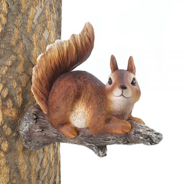 Lounging Squirrel Tree Garden Decor Statue